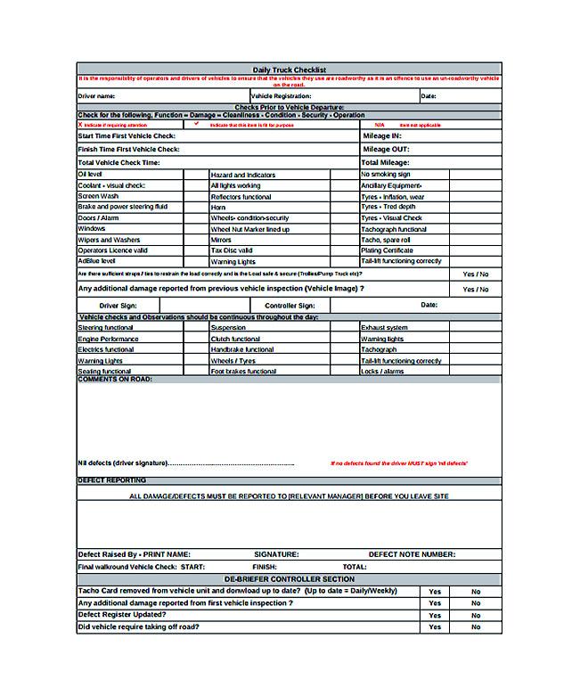 Truck Maintenance Checklist Template. vehicle maintenance schedule ...