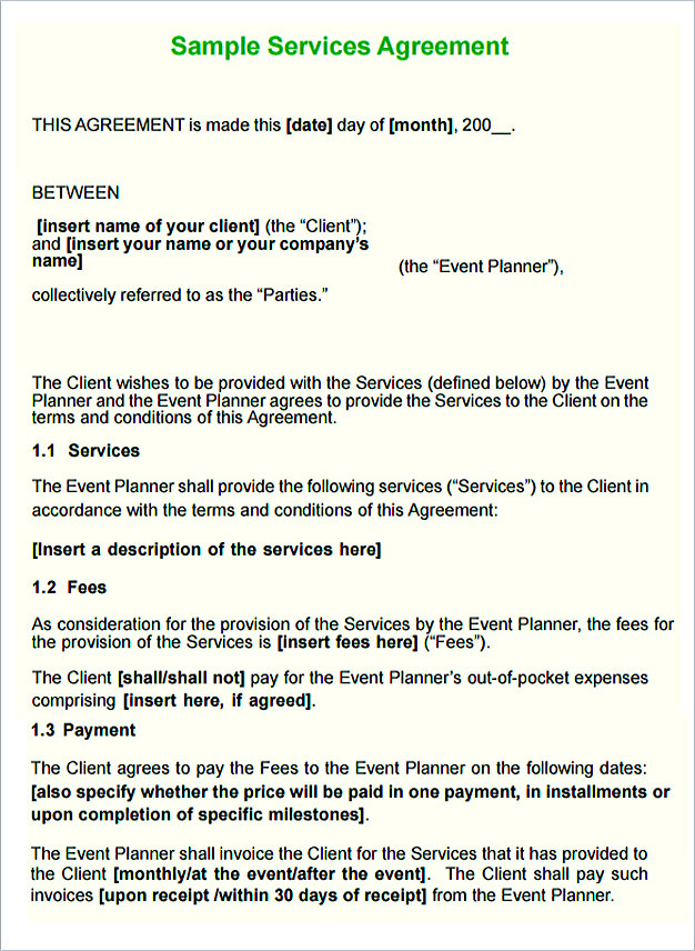 Service contract template and important terms to write for Wedding planner terms and conditions template