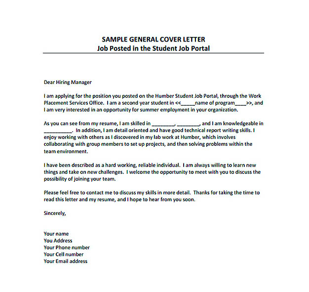 General Resume Cover Letter PDF Template Free Download