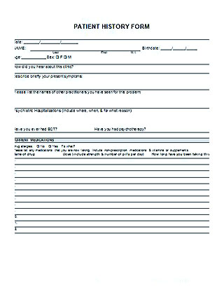 patient history form template