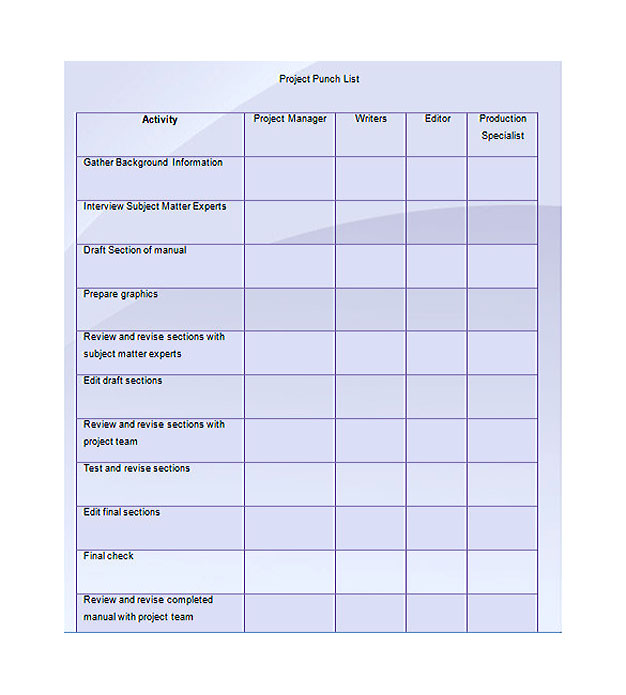 Project Punch List Template Example  Project Contact List Template
