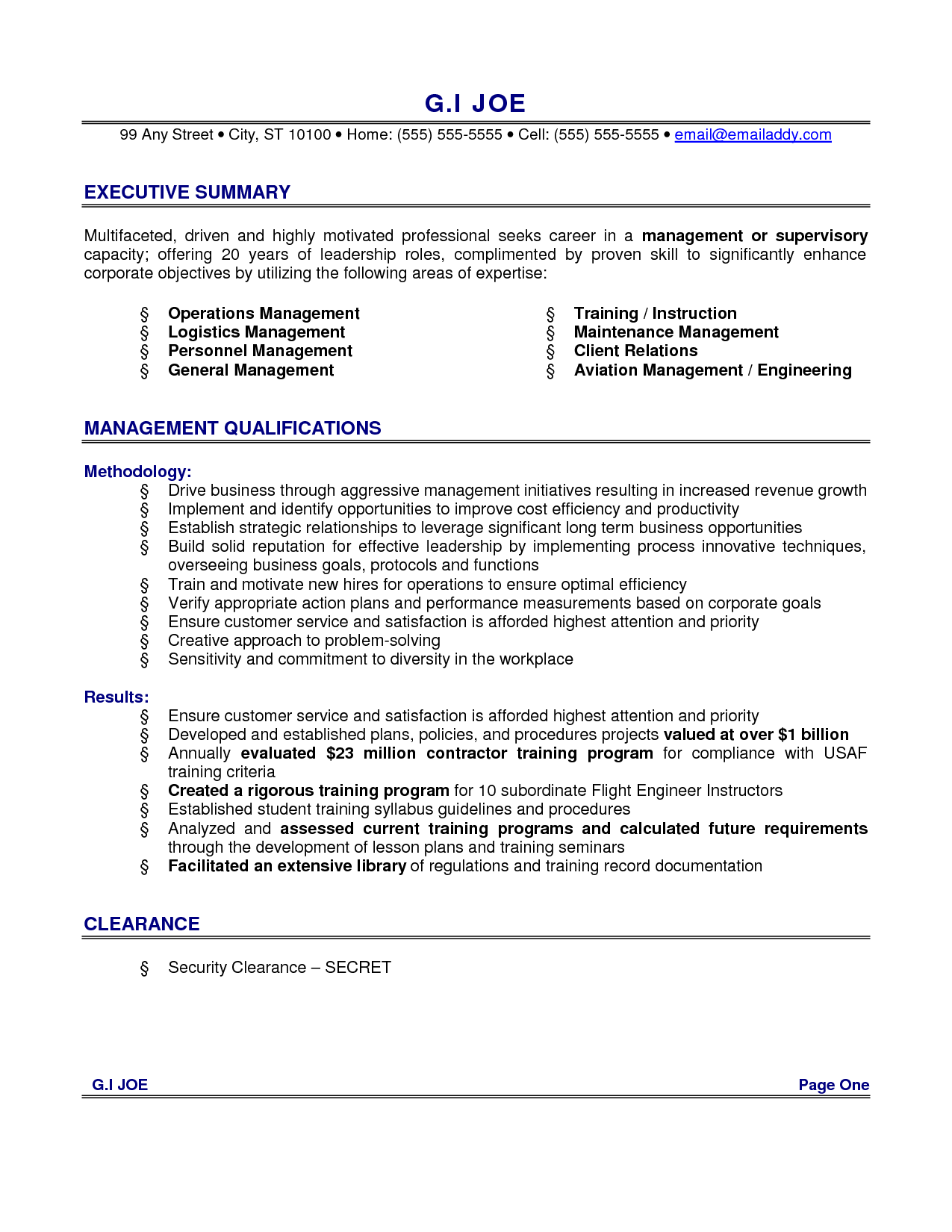 Resume-Examples For Executive Summary With Management Qualifications