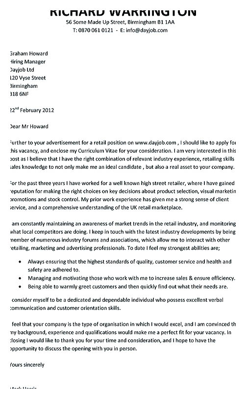retail cover letter example - Retail Cover Letter Examples Uk