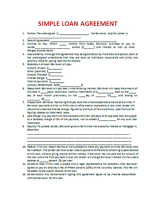 Download Loan Contract Template Doc Word
