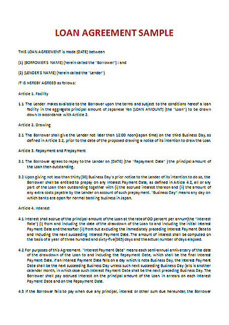 Loan Agreement Template Doc Business Loan Agreement Template Loan