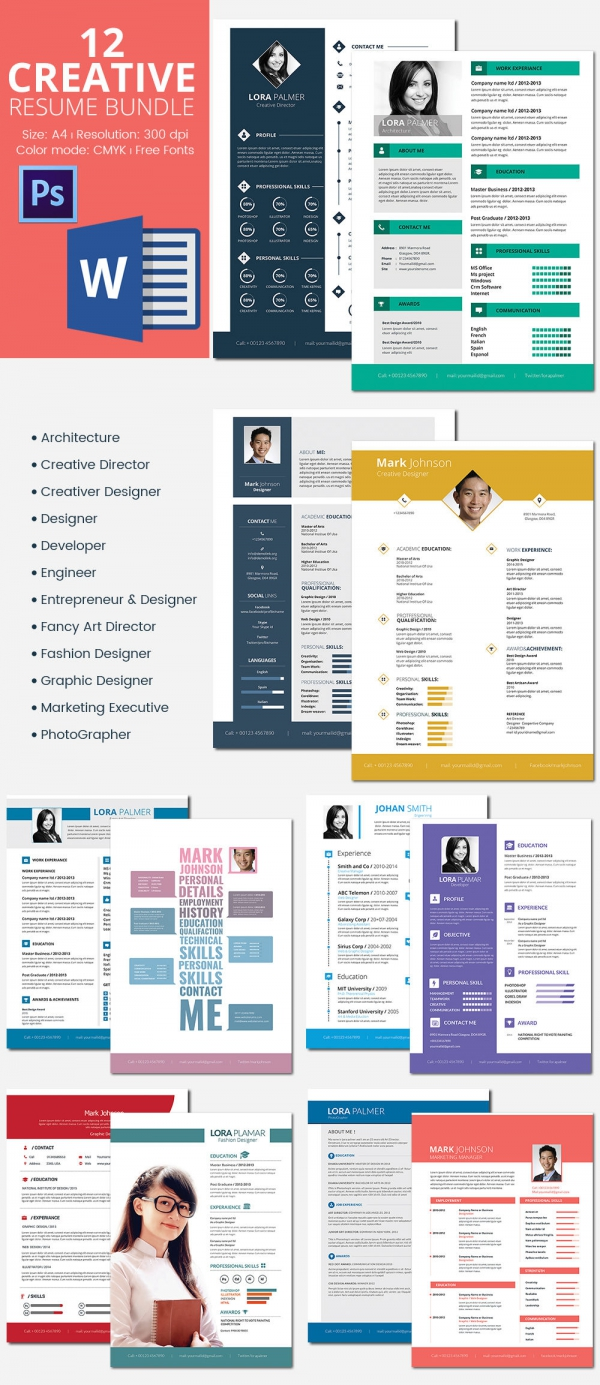 12 Resumes Bundle Template