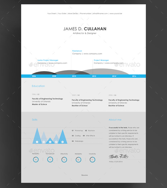 3 Piece Infographic Resume Template PSD