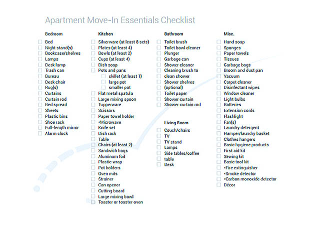 Apartment Moving Essentials Checklist Template Download