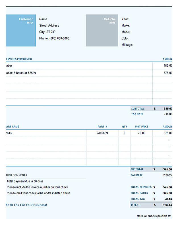 Auto Repair Excel Invoice Template