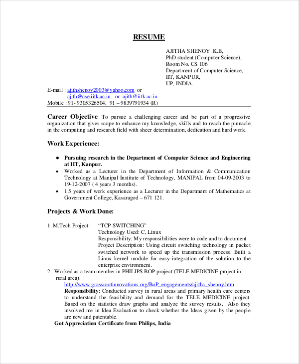 bsc computer science fresher resume - Computer Science Resume Sample