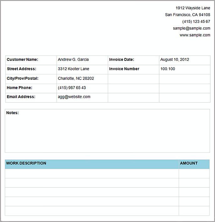 Basic Service Invoice