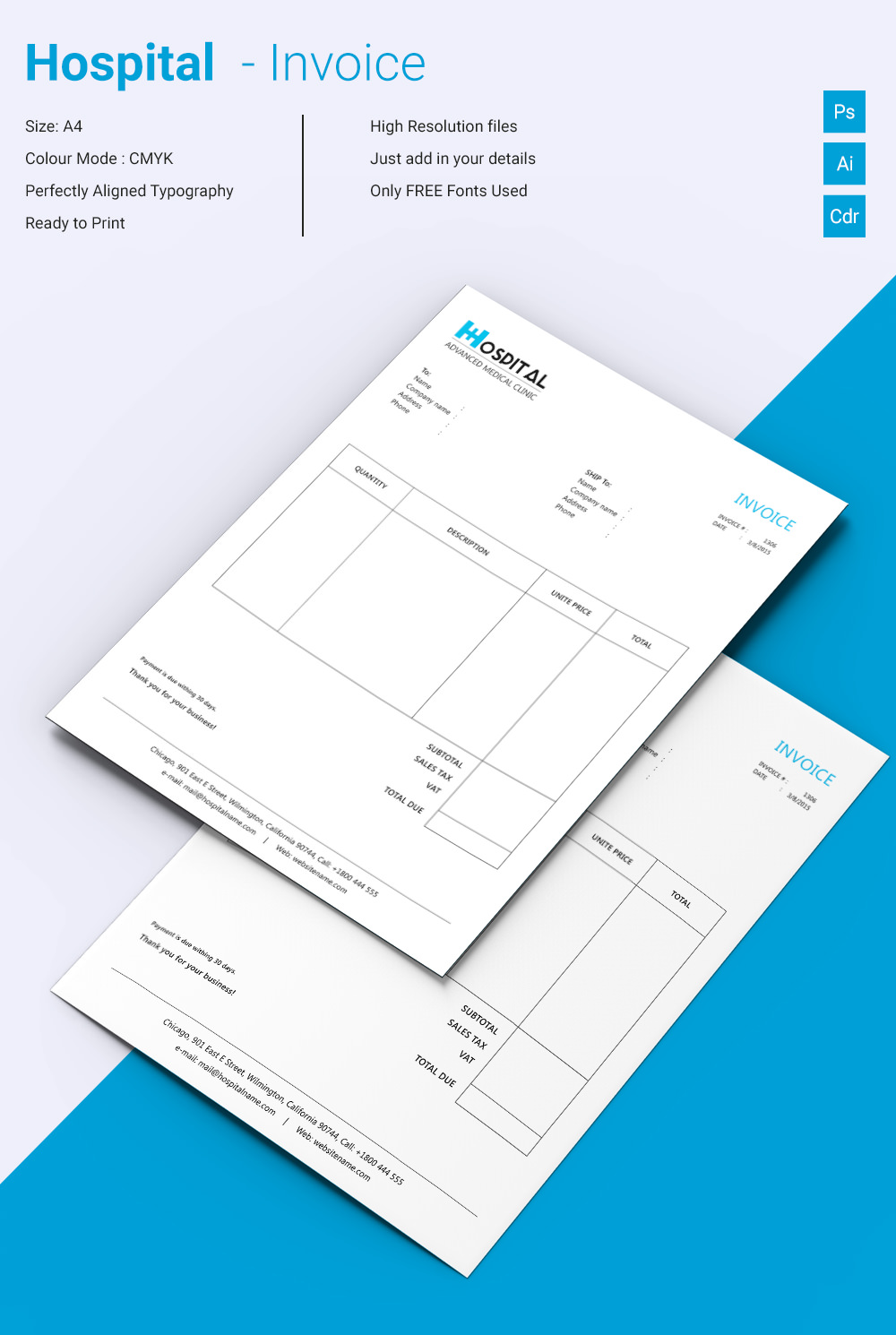 Beautiful Hospital Invoice Template