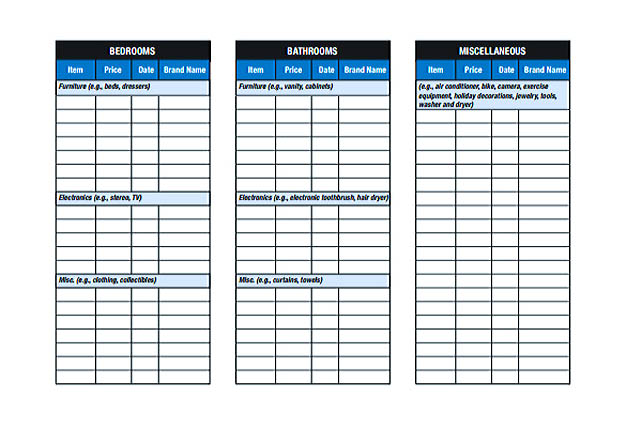 household inventory sheet