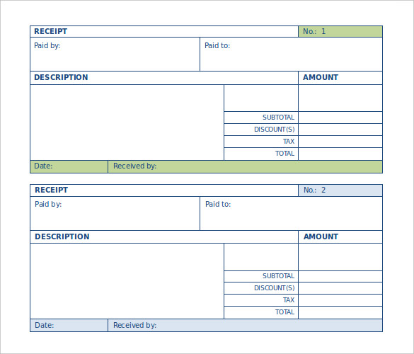 Blank Payment Receipt Template for Word Doc