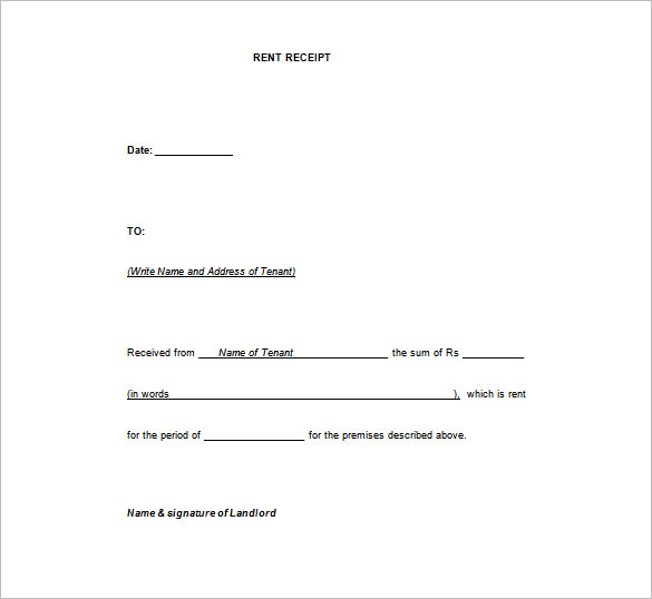 Blank Receipt Template Microsoft Word