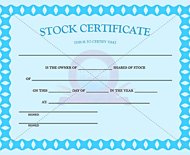 Blue Color Stock Certificate Template PDF