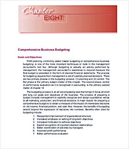 Business Comprehensive Budget Template