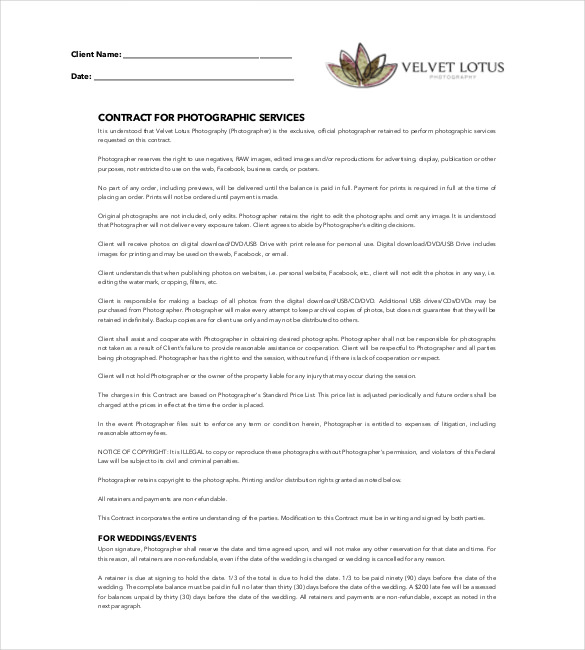 CONTRACT FOR PHOTOGRAPHIC SERVICES