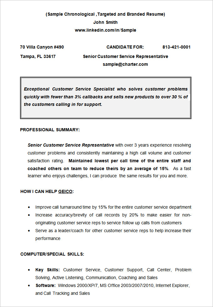 CV Sample Chronological Resume templates