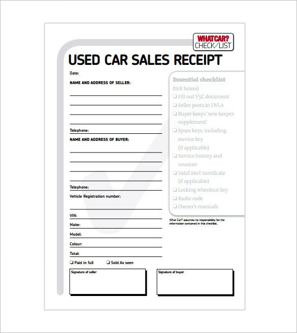Car Sale Receipt.
