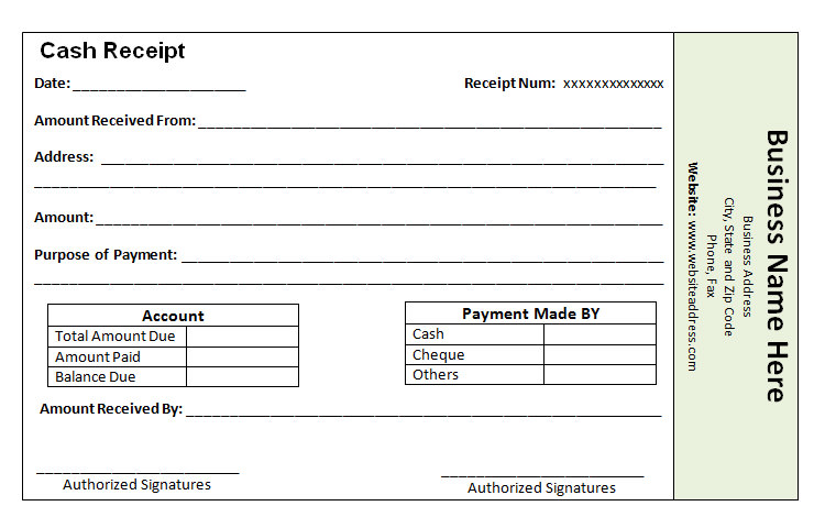 Amazing Cash Payment Receipt Template Ideas Payment Received Receipt