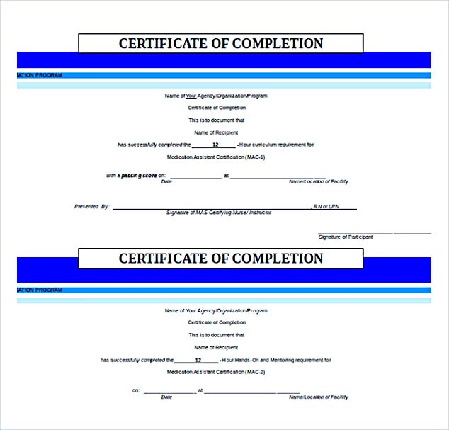 Certificate of Completion Free Word Download