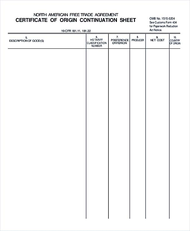 Certificate of Orgin Continuation Sheet