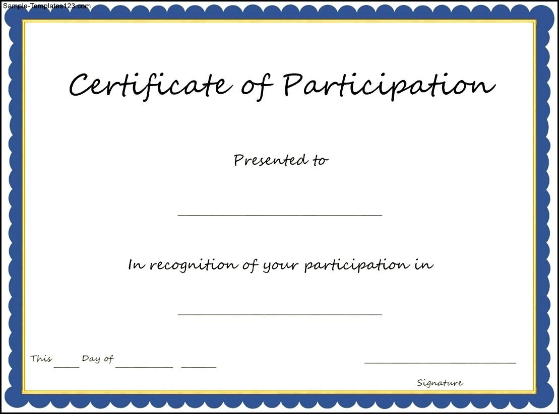 Key components to include on certificate of participation for Certification document template