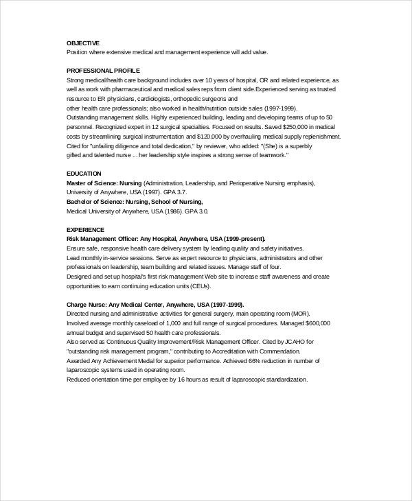 Charge Nurse Resume Example
