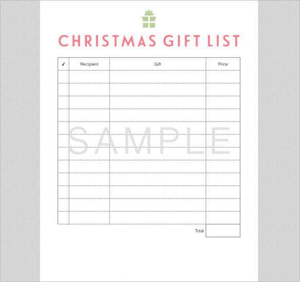 Christmas Gift List Digital PDF Download