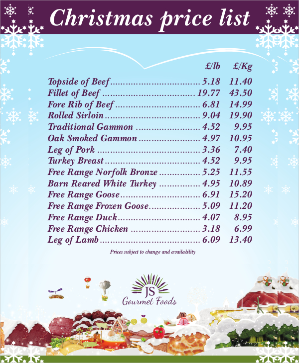 Christmas Price List Template