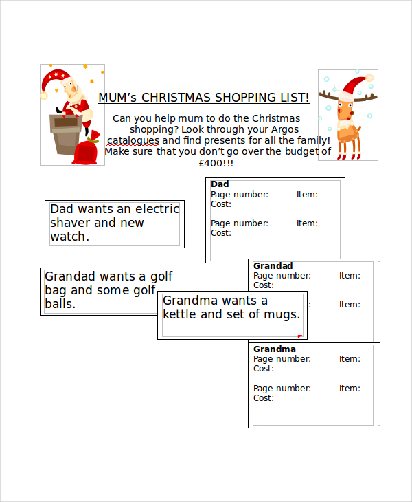 Christmas Shopping List Template Printable  Christmas Dinner Shopping List Template