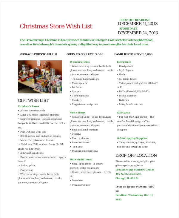 Christmas Store Wish List