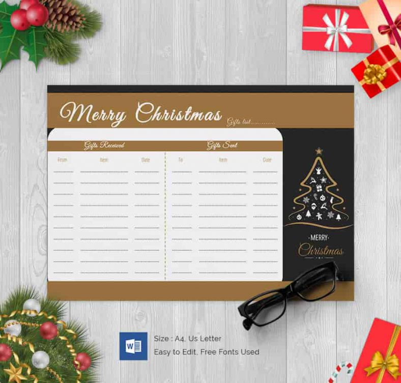 Christmas Tree Gift List Word Document 788x753