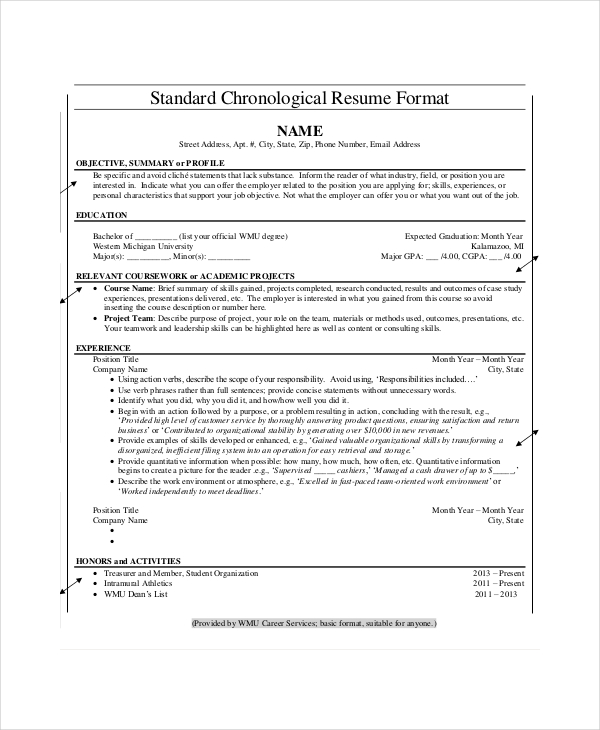 reverse chronological order resume sample template word 2007 free templates reverse chronological resume example template - Chronological Format Resume