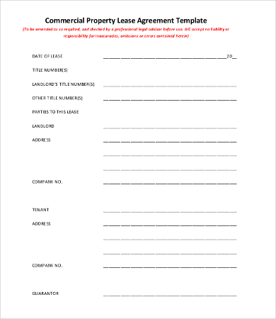 11 Simple Commercial Lease Agreement Template For Landowner