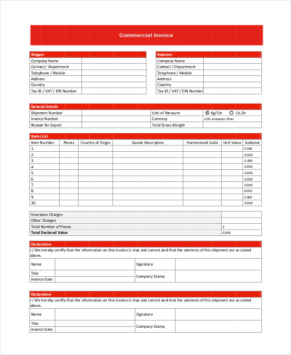 Commercial Shipper Invoice Template