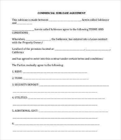 vehicle sublease agreement template - 11 simple commercial lease agreement template for