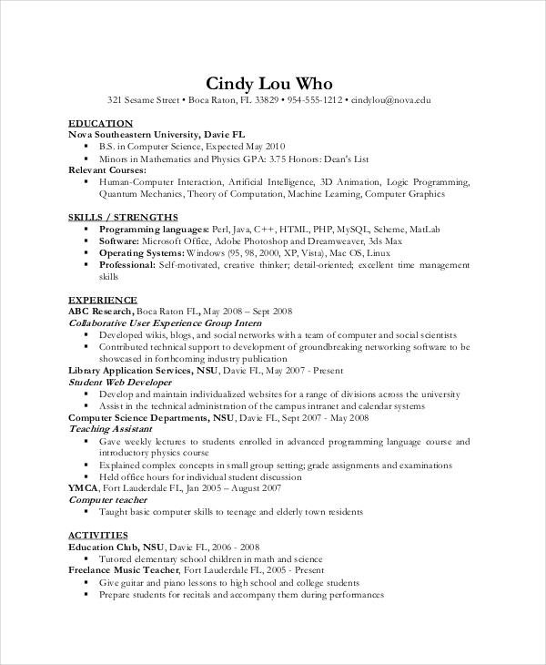 Resume Resume Sample With Gpa Computer Science Resume Template For It  Workers Example  Resume For Computer Science