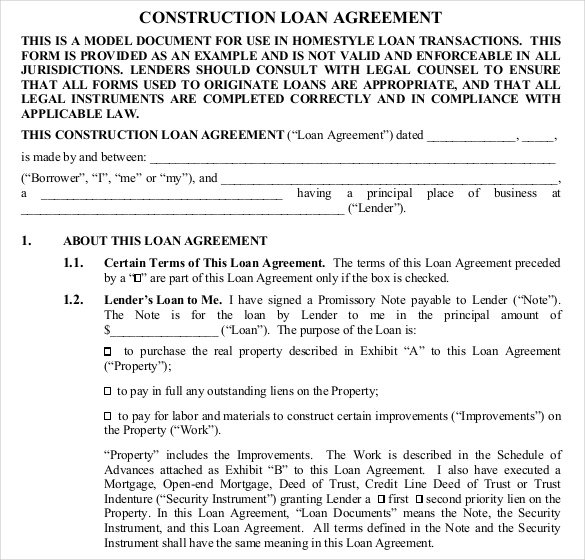 Construction Loan Contract Template Free  Private Loan Contract Template