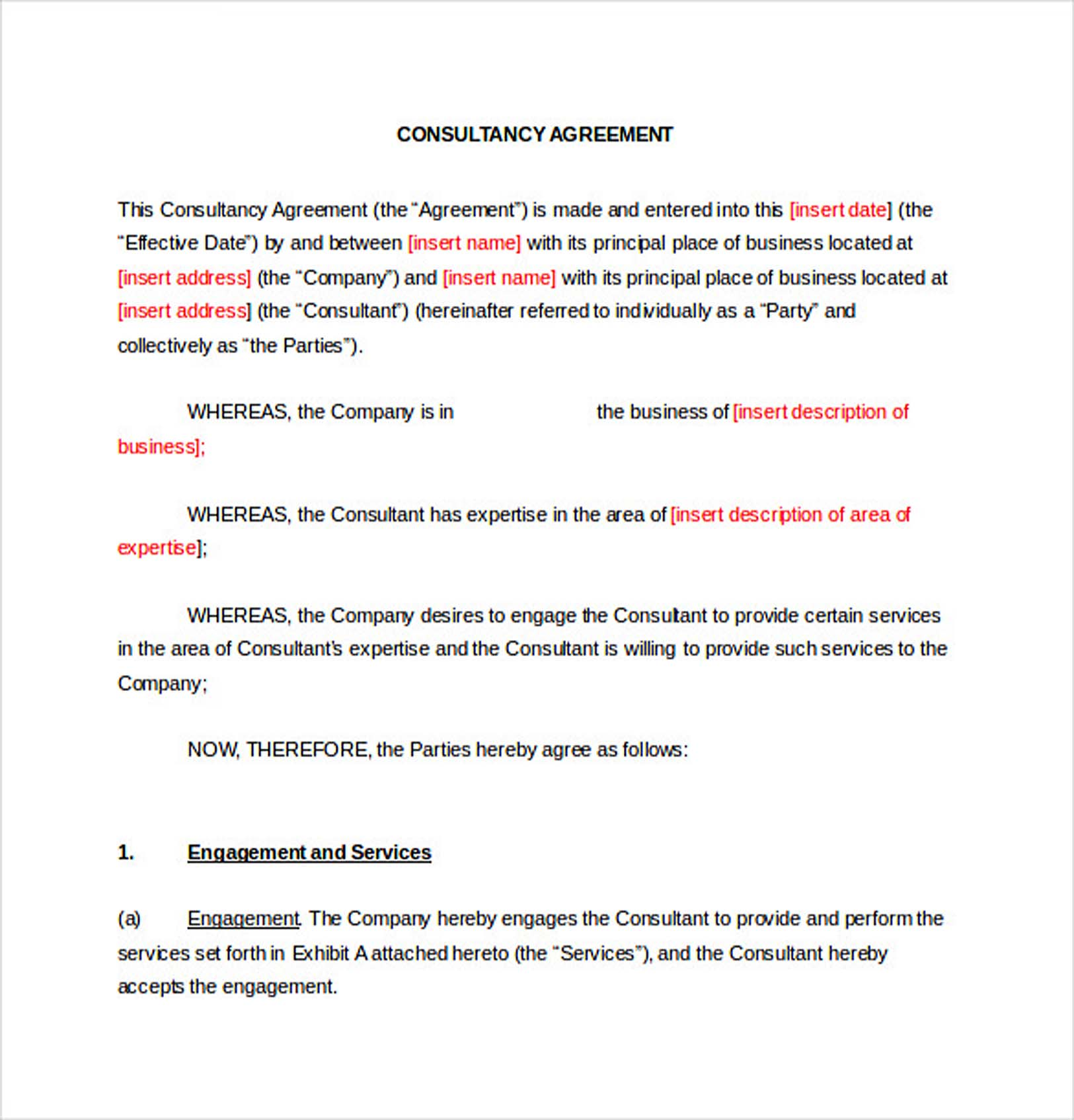 Consultancy Consulting Agreement