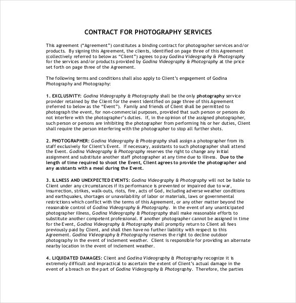 20 photography contract template for Photographer contracts templates