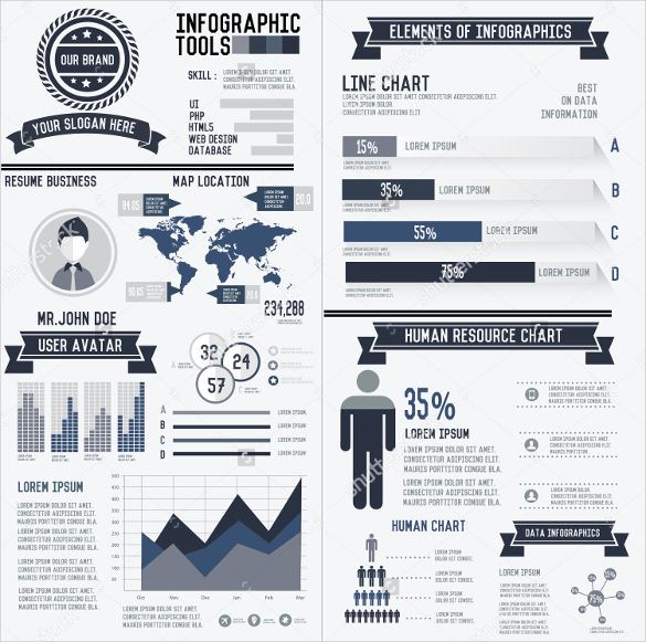 Corporate Infographic Resume Elements Data Template