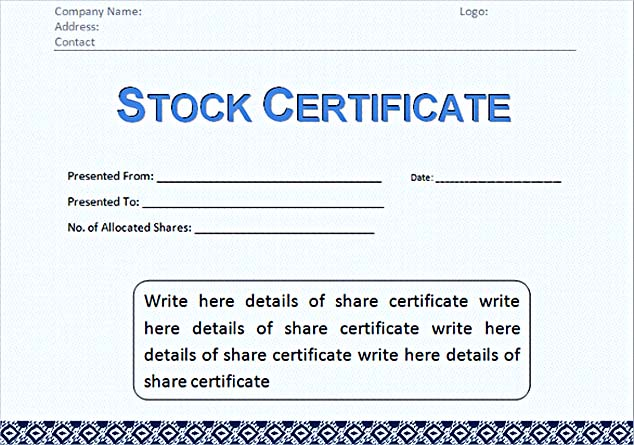 Corporate Stock Certificate Template Word Format