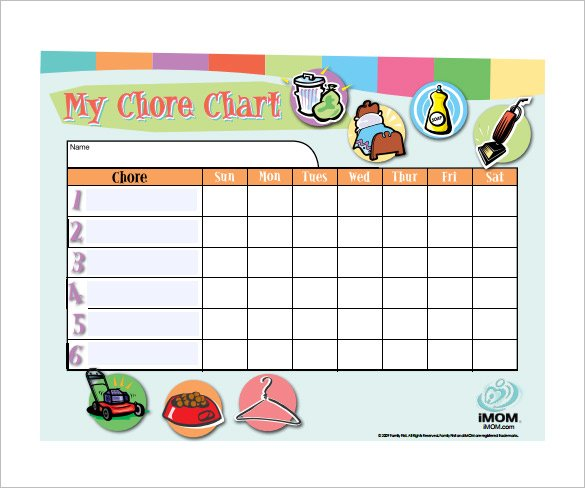 Customizable Weekly Chore Chart Free Downlaod