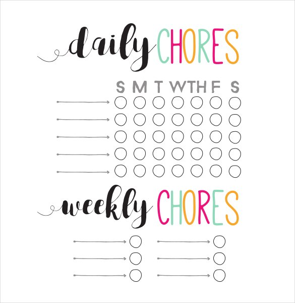 Daily and Weekly Chore Chart Template