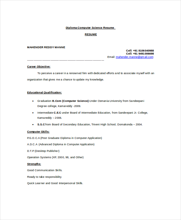 Diploma Computer Science Resume Template