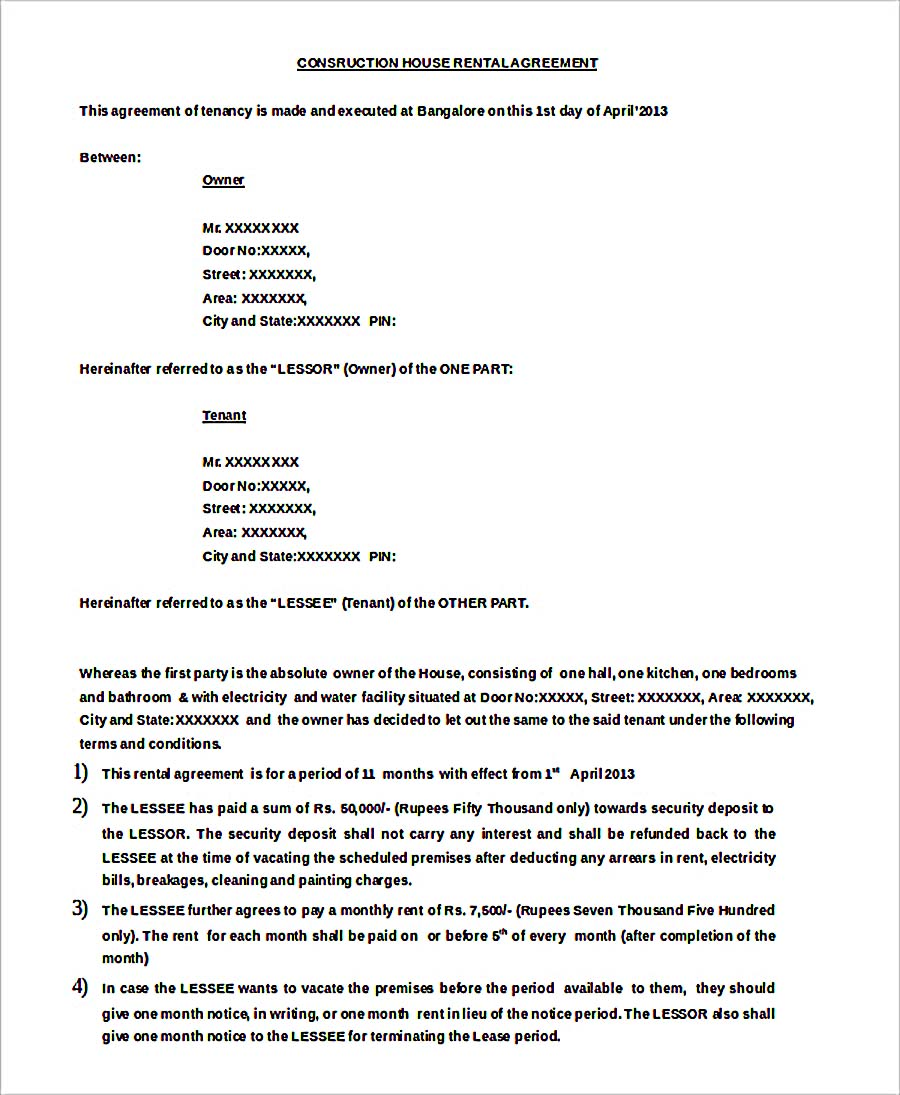 Doc Format Construction Hose Rental Agreement Free Download