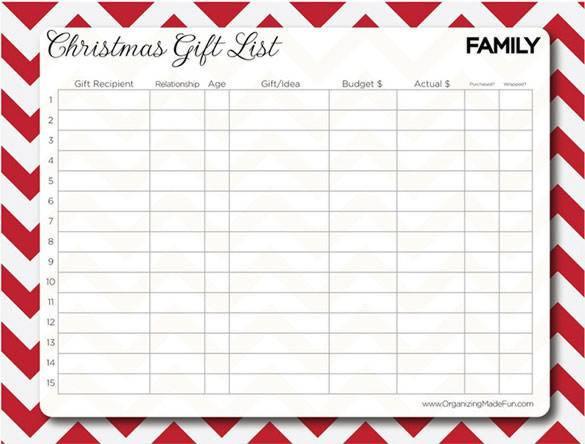 Christmas Family Gift List Printable