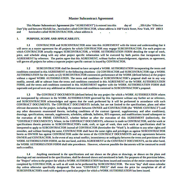 Download Subcontractor Agreement